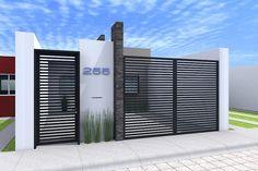 6 Wonderful Diy Ideas: Garden Fencing How To Grow grey pool fence.Backyard Fence Animals pallet fence for pigs. Modern Front Yard, Front Yard Fence, Front Gates, Entrance Gates, House Entrance, Fenced In Yard, Front Yard Landscaping, Landscaping Ideas, Low Fence