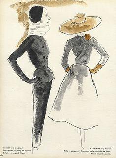 Blossac 1953 Fashion Illustration Dior Lecomte Griffe Givenchy ..4 Pages par Bernard Blossac | Hprints.com