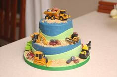 Trucks! - A truck cake for my son's second birthday.