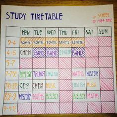 Study Time Table To Make Sure That You're Revising Each of Your Subjects - A DIY Back to School Organization Hack for Kids and Teens of All Ages. Study Time Table To Make Sure That You're Revising Each of Your Subjects - A DIY Back to School Orga High School Hacks, Life Hacks For School, School Study Tips, College Study Tips, College Board, College Classes, College Hacks, Planning School, School Planner