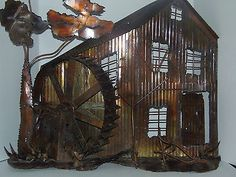 The big House withWater wheel and tree,Metal Wall Sculpture, Curtis Jere Era