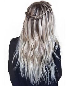 Waterfall Braid for Straight Ombre Hairstyles 2018 Spring