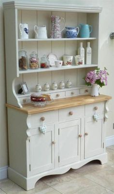 Beautiful Shabby Chic Welsh Dresser Painted In Farrow Ball Off White