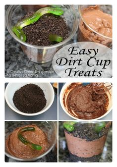 Earth Day Dirt Cup Treat Recipe at B-Inspired Mama // worms in mud Creative Snacks, Snack Recipes, Cooking Recipes, Good Food, Yummy Food, School Snacks, Cooking With Kids, Earth Day, Kids Meals