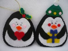 Penguin,  Felt Christmas Ornament - Home Decor Set of 2