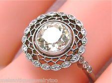 ANTIQUE STYLE 1.18ct EUROPEAN CUT CENTER DIAMOND PLATINUM ENGAGEMENT RING