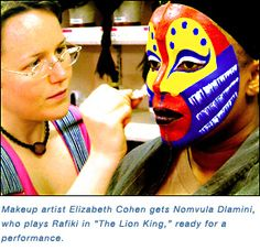 lion king face paint | In addition, the cramped space the artists work in prevents proper ... Lion King Theatre, Lion King Musical, Lion King Broadway, Theatre Geek, Rafiki Costume, Lion King Costume, Hyena Lion King, Lion King Jr, Face Paint Makeup