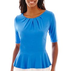 Great color and peplum is an easy way to feel dressed up without tucking in! Liz Claiborne® Elbow-Sleeve Peplum Top   found at @JCPenney