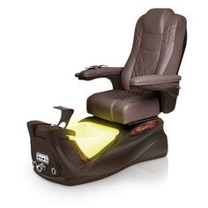 Infinity pedi-spa shown in Walnut Ultraleather cushion, Mocha base, Aurora LED Color-Changing bowl (shown in yellow)