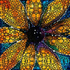 Yellow Sunflower Stone Rock'd by Sharon Cummings