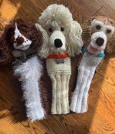 Custom dog golf club covers Golf Club Covers, My Etsy Shop, Teddy Bear, Knitting, Crochet, Unique Jewelry, Handmade Gifts, Dogs, Animals
