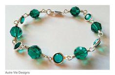 Swarovski Crystal Emerald Wire wrapped bracelet by AutreVieDesigns, $35.00