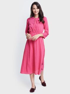 f07017c43f Buy Global Desi Women Pink Printed A Line Dress - Dresses for Women 5144435  | Myntra