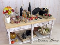 Miniature Dollhouse Jar Canning Workshop Table by Minicler on Etsy