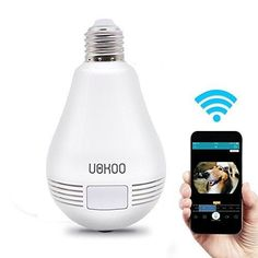 UOKOO 360-Degree Fisheye Panoramic Network Wireless Camera LED Bulb Home Security System White (D)