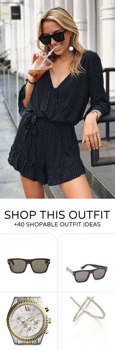 #summer #outfits  Black Dotted Romper