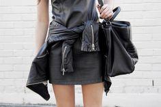 leather jacket #black #jersey #dress