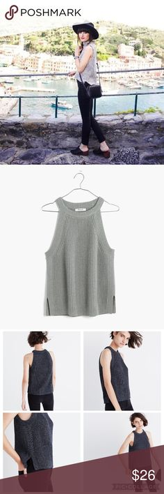 Madewell Valley Sweater-Tank NWT Madewell valley sweater-tank NWT  item f1935 Originally $59.50  COLOR: marled moss  PRODUCT DETAILS A sleek high neck and cutaway shoulders make this ribbed tank an undeniably sexy essential (not to mention a design-team favorite). Cool and flirty—just add jeans for an easy day-to-night look.   True to size. Cotton/poly. Hand wash. Import. Madewell Tops Tank Tops