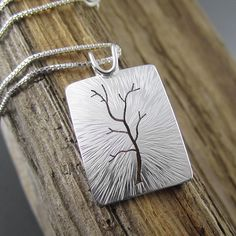Classic Radial Silver Tree Pendant