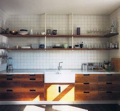 kitchen interior design Brown wood and white kitchen Painting Kitchen Cabinets We love the open shelving in this More seasonal House Design, Shelves, Home, One Wall Kitchen, New Kitchen, Home Kitchens, Modern Kitchen Design, Stainless Steel Kitchen Shelves, Kitchen Design