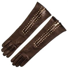 #Ladies Studded #Mocha #Long #Leather #Gloves