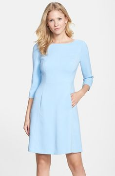 Free shipping and returns on Vince Camuto Crepe A-Line Dress (Regular & Petite) at Nordstrom.com. Smooth crepe is fashioned into an essential dress cut with an elegant bateau neckline, three-quarter sleeves and a subtlety flared silhouette.