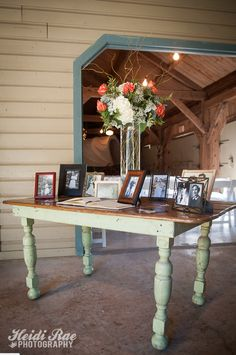 Rustic Welcome Table, Guest book table with vintage family photos, and pink and white flowers. Rustic Wedding, Our Wedding, Wedding Ideas, Vignette Photography, Wedding Welcome Table, Vintage Family Photos, Guest Book Table, Wedding Consultant, Tall Centerpiece