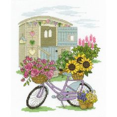 DMC Flower Bicycle Cross Stitch Kit