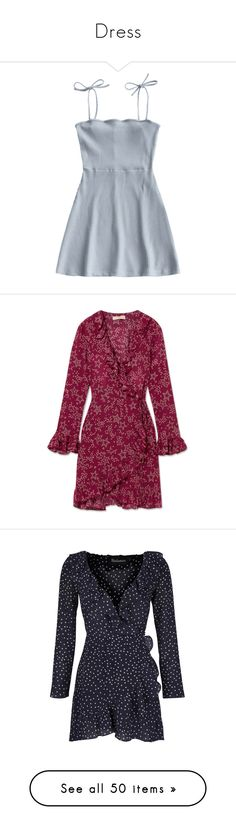"""Dress"" by eleonore-plot on Polyvore featuring dresses, vestidos, short blue dress, rib dress, blue dresses, short slip dress, blue slip, burgundy, silk wrap dress et short burgundy dress"