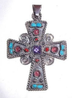 Large Mexico Sterling Silver Cross Pendant with Turquoise, Coral and more on Etsy, $150.00