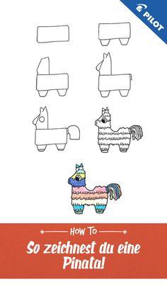 in piñata - - Cute Easy Drawings, Kawaii Drawings, Bullet Journal Writing, Kawaii Disney, Pilot Pens, Bujo Doodles, Directed Drawing, Step By Step Drawing, Art Tips