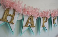 Happy Birthday Banner - Birthday Decoration - Birthday Garland - Birthday Photo Prop - Pink and Aqua on Etsy, $30.00