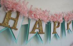 Happy Birthday Banner - Birthday Decoration - Birthday Garland - Birthday Photo Prop - Pink and Aqua Diy Birthday Banner, Diy Banner, 90th Birthday, Happy Birthday Banners, 1st Birthday Parties, Birthday Decorations, Birthday Celebration, Girl Birthday, Birthday Games