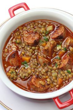 Spanish Chorizo and lentil stew. Hearty, comforting and satisfying. Yummy Recipes, Mexican Food Recipes, Cooking Recipes, Healthy Recipes, Ethnic Recipes, Chorizo Soup Recipes, Lentil Recipes, Lentils And Sausage, Sausage Soup