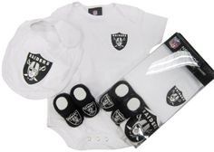 Oakland Raiders 3PC Onesie Booties and Bib Newborn / Infant / Baby Boxed Set OuterStuff,http://www.amazon.com/dp/B00A8SO53M/ref=cm_sw_r_pi_dp_ikSesb1K4Q38P79R
