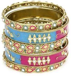 ShopStyle: Chamak By Priya Kakkar Gold Metal with Hot Pink and Light Blue Paint On Base Metal Bangle Bracelet