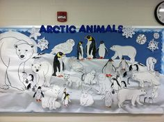 Children can also learn about the habitats of animals which live in the warm and cold temperatures. Winter Bulletin Boards, Preschool Bulletin Boards, Classroom Crafts, Preschool Crafts, Crafts For Kids, Polo Norte, Arctic Habitat, Operation Arctic, Artic Animals