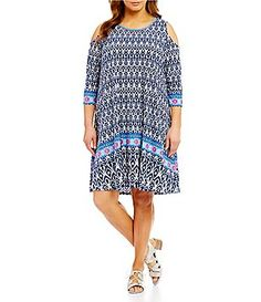 2c05e9d49ae2a3 Ruby Rd. Plus Ikat Border-Print Cold-Shoulder Dress Border Print
