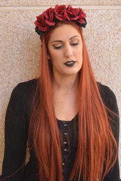 Roxanne Dark Red Flower Headpiece Blood Red Rose by NebulaXcrafts