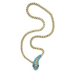 Victorian Snake Necklace | From a unique collection of vintage more necklaces at https://www.1stdibs.com/jewelry/necklaces/more-necklaces/