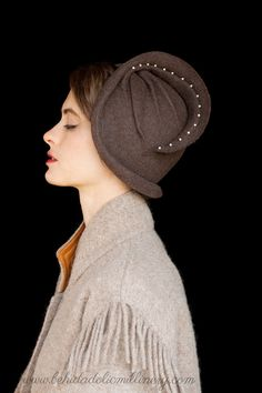 "Brown Felt Cloche "" Helena"" by behidadolicmillinery on etsy"