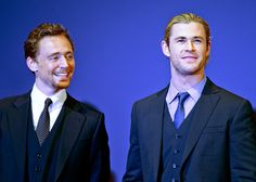 Chris Hemsworth & Tom Hiddleston. It's funny; I'm not even a Hiddleston admirer, but I've got a bunch of pins of him b/c he's in so many pictures with I guys I am attracted to. LOL