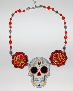 Day of the Dead large necklace with crystal embellishments. www.missfoofoovonladygarden.com