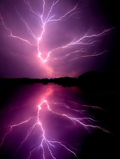 ★ Passionate Purple ★ ~~Cloud to Cloud Lightening ~ lightening bolt splits the sky, Chickahominy River, Virginia by Tim Scullion~~ All Nature, Science And Nature, Amazing Nature, Natural Phenomena, Natural Disasters, Beautiful Sky, Beautiful World, Beautiful Wallpaper, Cool Pictures