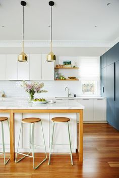 Kitchen from a colourful and contemporary renovation of a Sydney Federation villa. Photography: John Paul Urizar | Styling: Ashley Pratt | Story: Australian House & Garden