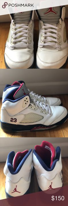 97d6e3c3f5125a Air Jordan 5 Retro (Olympics) White   Varsity Red-Mid Navy Have been worn a  few times — good condition Very rare Model   Jordan Shoes Sneakers