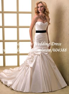 Elegant Pleat Off the Shoulder Black or Champagne Sash Satin Sweetheart Wedding Dress for Bride IL1514 $179.99