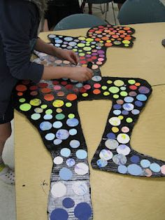 The Art Room at The Falcon Academy of Creative Arts: 6th grade art--- cardboard, black latex paint, construction paper