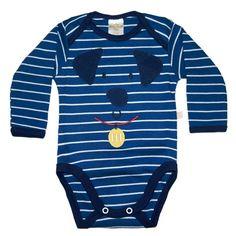 Body de bebê azul no tema cachorrinho! Veja mais enxoval de bebê da loja virtual Magoo Baby para outono/inverno aqui: http://mamaepratica.com.br/2016/05/19/roupa-de-bebe-para-o-frio-achados-de-inverno/