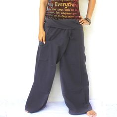 solid dark gray  and 1 pocket Thai fisherman pants,size S-XL,yoga,unisex pants. by meatballtheory on Etsy